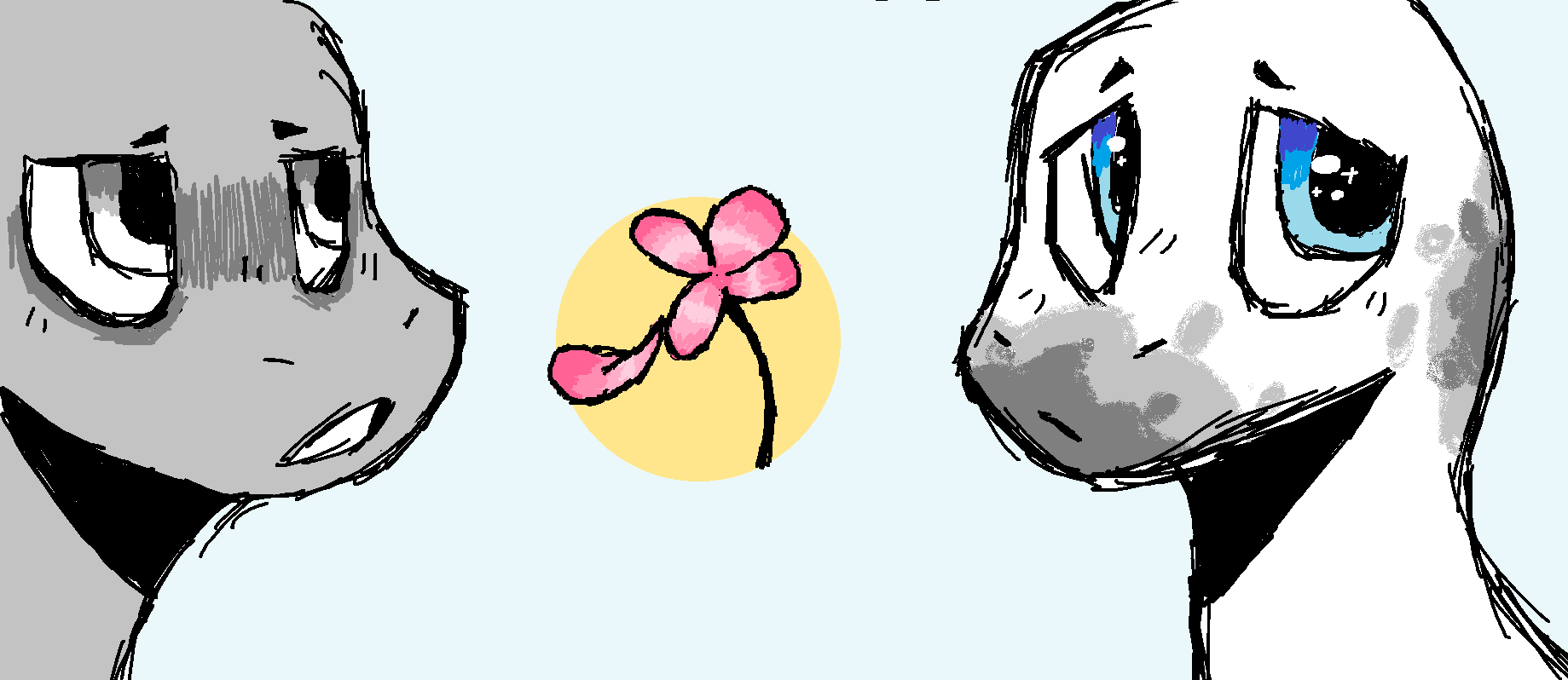 Two Dinos and a Flower by Pixel-Fazzy