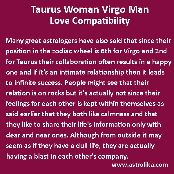 Love match for taurus woman