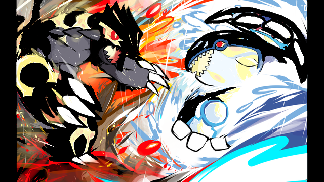 Pixilart Shiny Primal Groudon And Kyogre Uploaded By Gage Lol