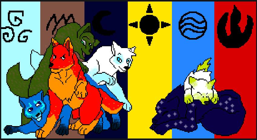 Pixilart - elemental wolves uploaded by shadowpuppet34